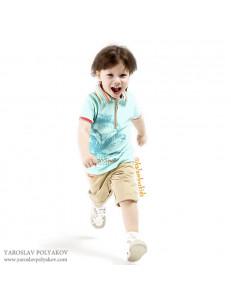 Комплект для мальчиков бирюзового цвета bebus (шорты и поло)