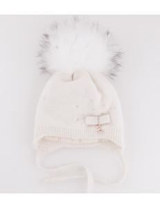 """Шапка зимняя для девочек белого цвета с белым помпоном """"БУШЕ kids"""""""