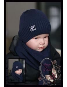 """Набор вязаный темно-синий для мальчиков """"Boy"""" (шапка и шарф)"""