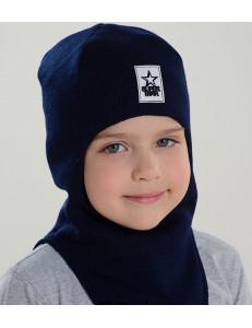 """Шапка-шлем демисезонный темно-синий для мальчиков """"Звездный воин"""""""
