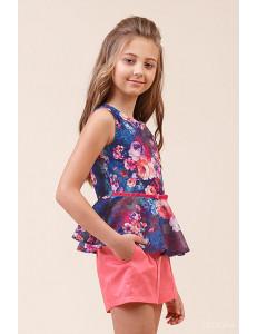 Комплект летний для девочек коралловый (блузка с баской и шорты)